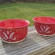 Set Of Small Red Bowls Print by Monika Hood