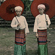 Shan Women Wearing Traditional Colorful Print by W. Robert Moore