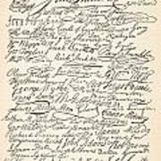 Signatures Attached To The American Declaration Of Independence Of 1776 Print by Founding Fathers