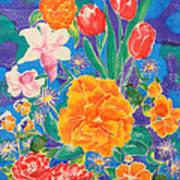 Silk Blooming Flowers Print by Sandra Fox