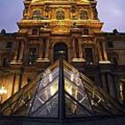 Small Glass Pyramid Outside The Louvre Print by Axiom Photographic
