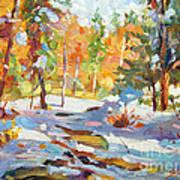 Snowy Autumn - Plein Air Print by David Lloyd Glover