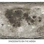 Spacecraft On The Moon, Lunar Map Print by Detlev Van Ravenswaay