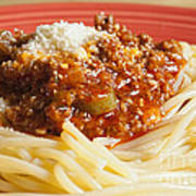 Spaghetti Bolognese Dish Print by Andre Babiak