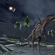Spinosaurus Witnessing A Lunar Impact Print by Walter Myers