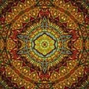 Stained Glass Gas Ring Mandala Print by Richard H Jones