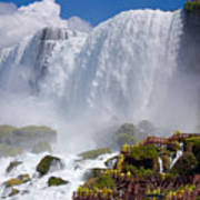 Stairs And Yellow Raincoats Near American Falls Print by Kiril Strax
