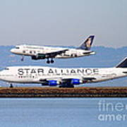 Star Alliance Airlines And Frontier Airlines Jet Airplanes At San Francisco International Airport Print by Wingsdomain Art and Photography