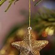 Star And Garland On Christmas Tree Print by Sami Sarkis