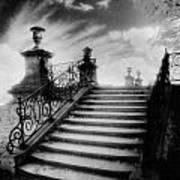 Steps At Chateau Vieux Print by Simon Marsden