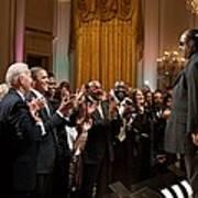 Stevie Wonder Receives A Standing Print by Everett