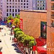 Stockton Street San Francisco Towards Union Square Print by Wingsdomain Art and Photography