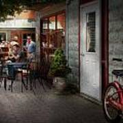 Storefront - Frenchtown Nj - At A Quaint Bistro  Print by Mike Savad