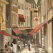 Street Scene In Brussels Print by Veronica Coulston