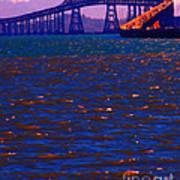 Sun Setting Beyond The Richmond-san Rafael Bridge - California - 5d18435 Print by Wingsdomain Art and Photography