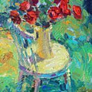 Sunny Impressionistic Rose Flowers Still Life Painting Print by Svetlana Novikova