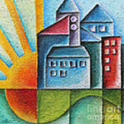 Sunny Town Print by Jutta Maria Pusl