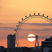 Sunset Viewed Through The London Eye Print by Photograph by Lars Plougmann