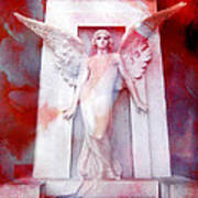 Surreal Impressionistic Red White Angel Art  Print by Kathy Fornal