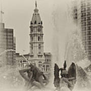 Swann Memorial Fountain In Sepia Print by Bill Cannon