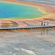 Taking A Stroll At Yellowstone's Grand Prismatic Print by Bruce Gourley