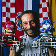 Technician With Lego Footballers At Robocup-98 Print by Volker Steger