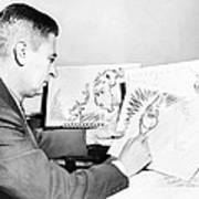Ted Geisel Dr. Seuss 1904-1991 At Work Print by Everett