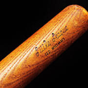Ted Williams Little League Baseball Bat Print by Andee Design