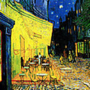 Terrace Of The Cafe On The Place Du Forum In Arles In The Evening Print by Pg Reproductions
