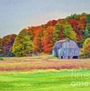 The Barn In Autumn Print by Michael Garyet