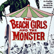 The Beach Girls And The Monster Print by Everett