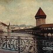 The Chapel Bridge In Lucerne Switzerland Print by Susanne Van Hulst