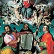The Coronation Of The Virgin With Saints Luke Dominic And John The Evangelist Print by Bartolomeo Passarotti