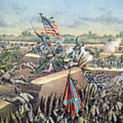 The Fall Of Petersburg To The Union Army 2nd April 1965 Print by American School