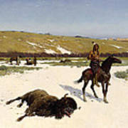 The Last Of The Herd Print by Henry Francois Farny