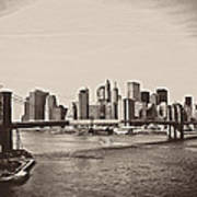 The New York City Skyline And The Brooklyn Bridge Print by Vivienne Gucwa