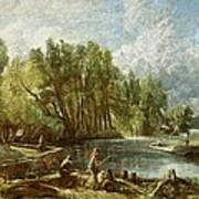The Young Waltonians - Stratford Mill Print by John Constable