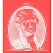 Thomas Jefferson In Negative Red Print by Rob Hans