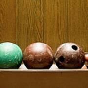 Three Bowling Balls Print by Benne Ochs