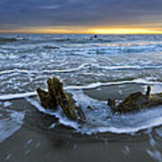 Tides At Driftwood Beach Print by Debra and Dave Vanderlaan