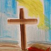 Tim Tebow's Cross-easter Monday Print by Mary Carol Williams