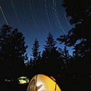 Time Exposure Of A Campers Tent Print by Rich Reid