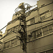 Tokyo Electric Pole Print by Naxart Studio