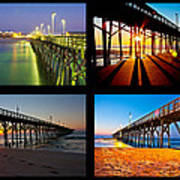 Topsail Piers At Sunrise Print by Betsy Knapp