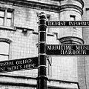 Tourist Information Signs Directions Street Aberdeen Scotland Uk Print by Joe Fox
