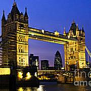 Tower Bridge In London At Night Print by Elena Elisseeva