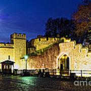 Tower Of London Walls At Night Print by Elena Elisseeva