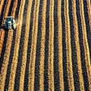 Tractor Plowing A Field Print by John Short
