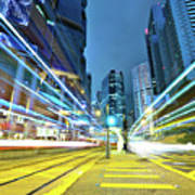 Traffic Trails In City Print by Leung Cho Pan