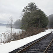 Train Tracks In Snowy Landscape Print by Roberto Westbrook